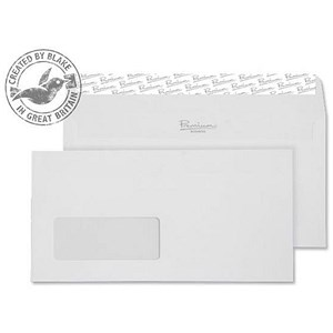 Image of Blake Premium Wallet Envelopes with Window / Wove Finish / High White / Peel & Seal / 120gsm / Pack of 500