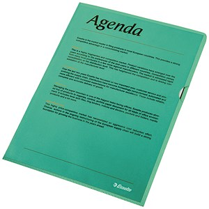 Image of Esselte Copy-safe Cut Flush Folders / Plastic / A4 / Green / Pack of 100