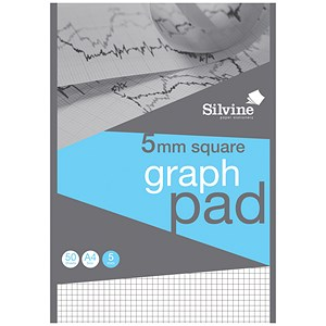 Image of Silvine Student Graph Pad / A4 / 90gsm / 50 Sheets / Pack of 10