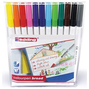 Image of Edding Colouring Pens / Broad / Washable / Assorted / Pack of 12