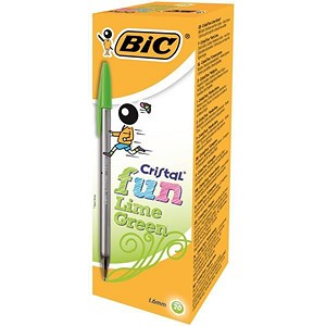 Image of Bic Cristal Fun Ballpoint Pen / Lime Green / Pack of 20