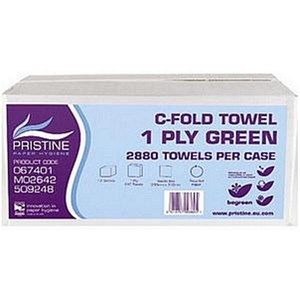 Image of Pristine C-Fold Hand Towels / Single Ply / Green / 12 Sleeves of 240 Sheets