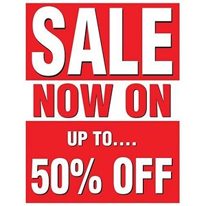"Image of Sales Poster with ""50 Percent Off"" Text / A1 / Red & White"