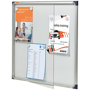 Image of Nobo Extra-flat Noticeboard with Lockable Glazed Case / 6xA4 / W785xD40xH812mm