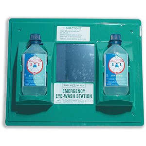 Image of Wallace Cameron First-Aid Emergency Eyewash Station 2 x 500ml Bottles W206xD49xH205mm Ref 2402028