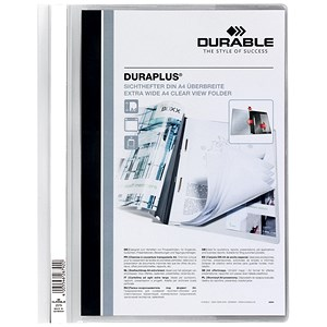 Image of Durable Duraplus Quotation Filing Folders / Clear Title Pocket / PVC / A4 / White / Pack of 25