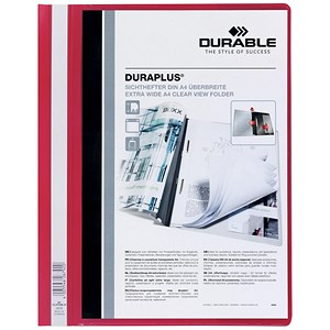 Image of Durable Duraplus Quotation Filing Folders with Clear Title Pocket / PVC / A4 / Red / Pack of 25