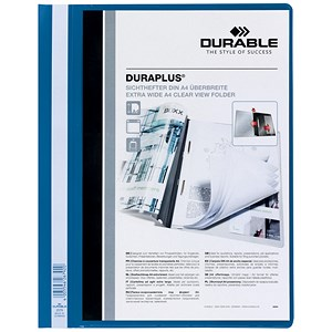 Image of Durable Duraplus Quotation Filing Folders with Clear Title Pocket / PVC / A4 / Blue / Pack of 25