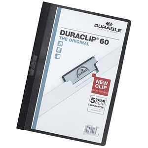 Image of Durable Duraclip Folders / PVC / Clear Front / 6mm Spine for 60 Sheets / A4 / Black / Pack of 25