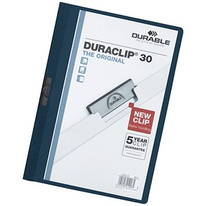 Image of Durable Duraclip Folders / PVC / Clear Front / 3mm Spine for 30 Sheets / A4 / Dark Blue / Pack of 25