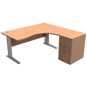 Image of Sonix Radial Desk / Right Hand / 1600mm with 600mm Desk-high Pedestal / Beech
