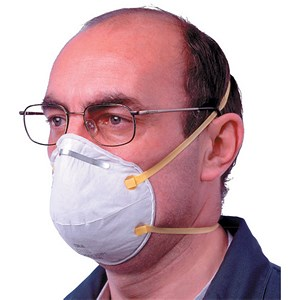 Image of 3M Unvalved Respirator / FFP1 Classification / White with Yellow Straps / Pack of 20