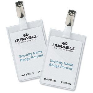 Image of Durable Name Badges Security with Rotating Clip / 90x60mm / Pack of 25