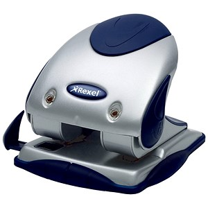 Image of Rexel P240 Heavy Duty 2-Hole Punch with Nameplate / Silver and Blue / Punch capacity: 40 Sheets