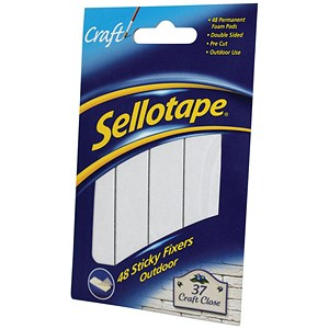 Image of Sellotape Double-sided Sticky Fixers / Weather-resistant / 20 x 20mm / 48 Pads / Pack of 12