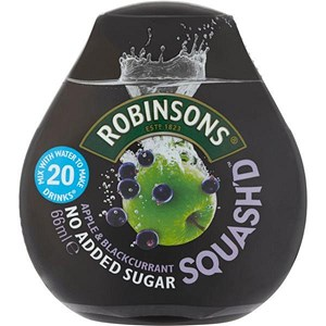 Image of Robinsons Squash'd Apple & Blackcurrant No Added Sugar - 6 x 66ml