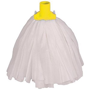 Image of Robert Scott & Sons Big White Socket Mop T1 Non-woven Colour-coded Yellow Ref PSTY12 [Pack 10]