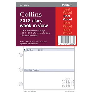 Image of Collins 2018 Diary Refill / Week to View / Slim