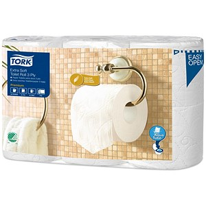 Image of Tork Extra Soft Premium Toilet Roll 3-ply White Ref 110318 [Pack 6]