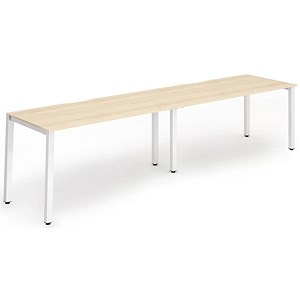 Image of Trexus 2 Person Bench Desk / 2 x 1400mm (800mm Deep) / White Frame / Maple