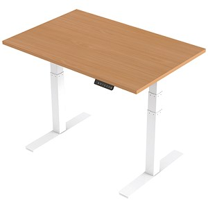 Image of Trexus Height-adjustable Desk / White Legs / 1200mm / Beech