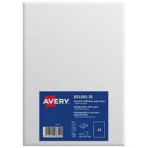 Image of Avery Standard Removable Labels / A3 / White / A3L001-10 / 10 Labels