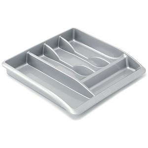 Image of Addis High Gloss Drawer Organiser - Metallic Silver