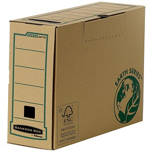 Image of Fellowes Bankers Box Earth Transfer Files / Recycled FSC / Locking Tab Lid / A4 / Pack of 20