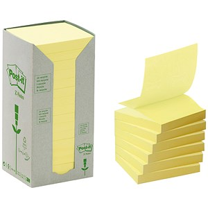 Image of Post-it Recycled Z-Note Tower / 76x76mm / Yellow / Pack of 16 x 100 Notes