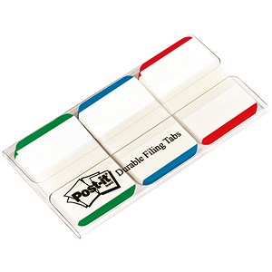Image of Post-it Index Tabs Lined Strong / Green, Blue & Red / Pack of 66