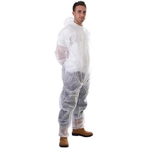 Image of Supertouch Coverall / Non-Woven / Disposable / Zip Front / White / Large / White