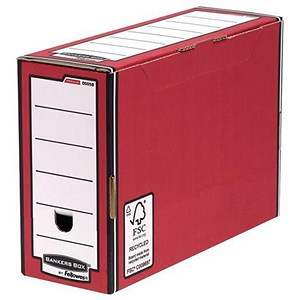 Image of Fellowes Bankers Box Premium Transfer Files / Red & White / Pack of 10