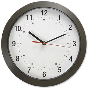 Image of Wall Clock with Coloured Case Diameter 300mm Dark Grey