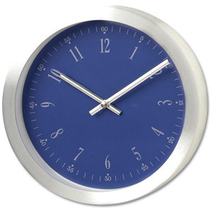 Image of Wall Clock Brushed Aluminium Case Diameter 300mm