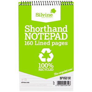 Image of Silvine Everyday Recycled Wirebound Shorthand Notepad / 125x200mm / Ruled / 160 Pages / Pack of 12