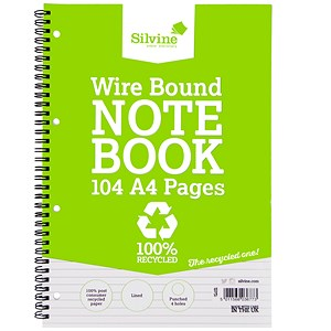 Image of Silvine Everyday Recycled Wirebound Notebook / A4 / Punched / Ruled / 104 Pages / Pack of 12