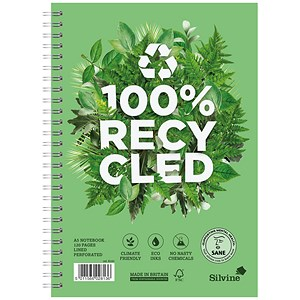 Image of Silvine Premium Recycled Wirebound Notebook / A5 / Ruled / 120 Pages / Pack of 5