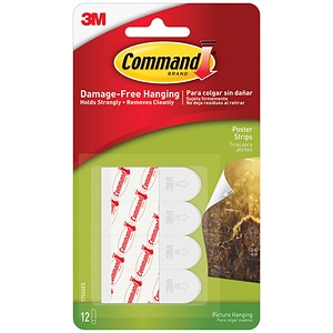 Image of 3M Command Adhesive Poster Strips / Clean Removal / 0.45kg Holding Capacity / Pack of 12