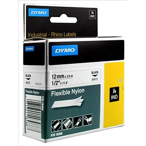 Image of Dymo RhinoPRO Industrial Tape Flexible Nylon 12mm White Ref 18758 S0718100
