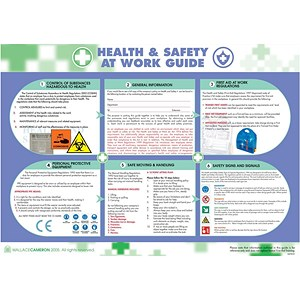 Image of Wallace Cameron Health and Safety At Work Poster Laminated Wall-mountable W590xH420mm Ref 5405023