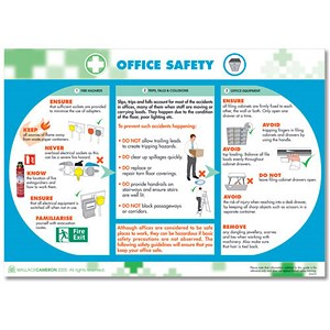 Image of Wallace Cameron Office Safety Poster Laminated Wall-mountable W590xH420mm Ref 5405027