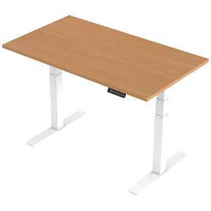 Image of Trexus Height-adjustable Desk / White Legs / 1400mm / Beech