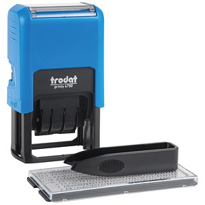 Image of Trodat Printy Typo 4755 Self-Inking Dater Stamp with D-I-Y Text - Red & Blue
