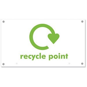 Image of Sseco Recycle Point Board Top Sign Foam PVC for Recycle Hangers 400x225x3mm Ref Env13
