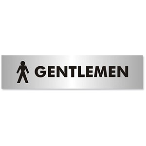Image of Gentlemen Sign Brushed Aluminium Acrylic 190x45mm