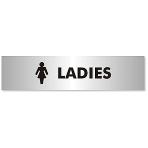 Image of Ladies Sign Brushed Aluminium Acrylic 190x45mm