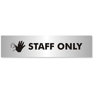 Image of Staff Only Sign Brushed Aluminium Acrylic 190x45mm