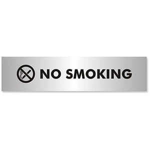 Image of No Smoking Sign Brushed Aluminium Acrylic 190x45mm