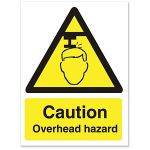 Image of Stewart Superior Caution Overhead Hazard Sign Self Adhesive Vinyl150x200mm Ref WO132SAV