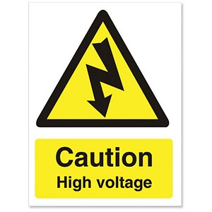 Image of Stewart Superior Caution High Voltage Sign Self Adhesive PVC 150x200mm Ref WO137PVC